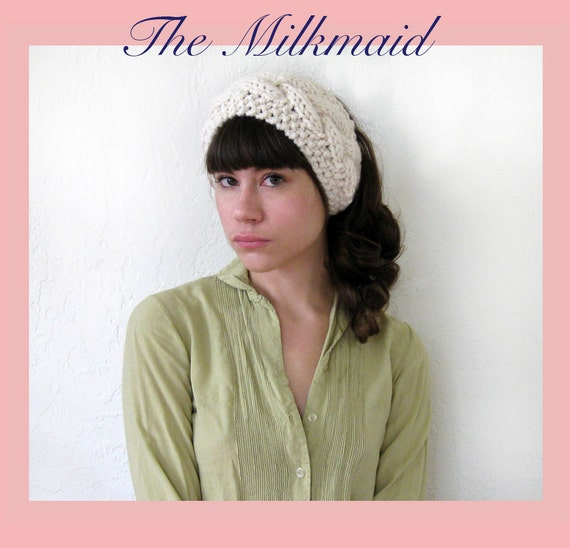 Hand Knit MILKMAID HEADDRESS in CREAM / 10 Colors Available