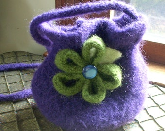 SALE--Felted Wool Bag, Removable Flower Pin, Ruffle-Top Purple Wool Felted Bag with Green Removable Flower Pin