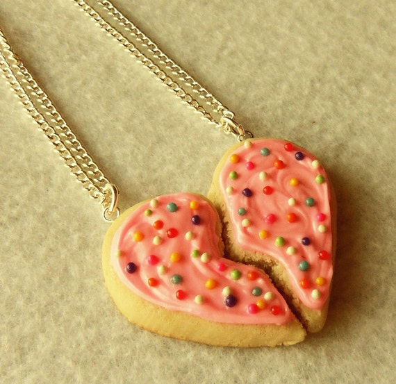 Polymer Clay Best Friends Bff Pink Sugar Cookie Heart Halves With Rainbow Sprinkles Necklaces , Valentine's Day Gift