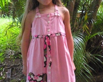 Pink and brown heart embelished dress 5T up-cycled little girls  OOAK