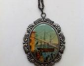 Vintage Boston Tea Party Cameo Pendant Necklace