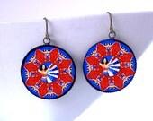 Wonder Woman Mandala Earrings / 70s TV Kitsch / Red White and Blue Kaleidoscope