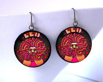 Zodiac Leo the Lion Psychedelic Earrings July Birthday Jewelry -Burner Raver Hippie