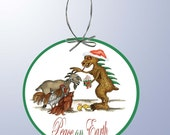 Chupacabra and Goat Holiday Paper Ornament