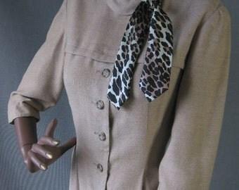 50s 60s Vintage Sexy Secretary Dress Medium Leopard Trim