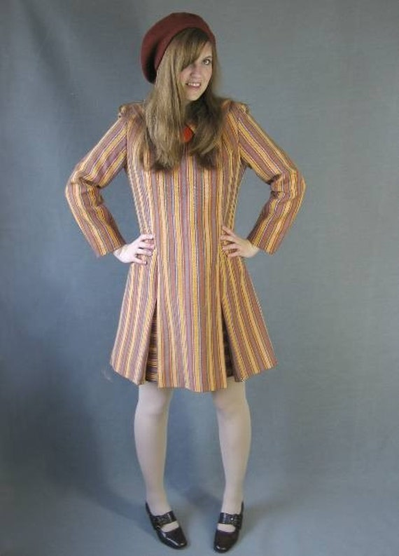 Vintage 60s Mod Striped Mini Dress Schoolgirl Small to Medium