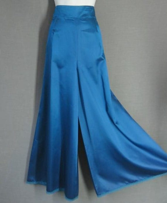 70s 80s Palazzo Pants Vintage High Waist Wide Leg Blue Satin Large