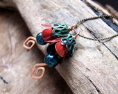 Handmade Vintage Style Flower Bead Dangles. Exclusive Charm Red Green Bead Dangles. Handmade supplies / Earring Dangles / Necklace Charms