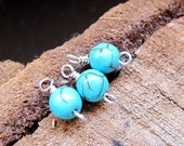 Turquoise Drop Dangles. Sterling Silver Wrapped Charms for Earrings, Pendant Necklace. Precious Gemstones