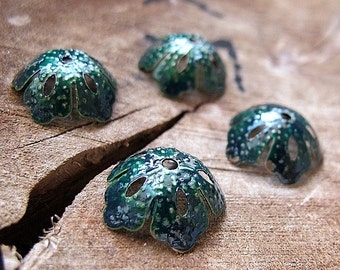 Green Enameled Filigree Bead Caps, hand painted with antique enamel/glass color, Bead Cups Supplies / Flower Bead Caps 15mm / Artisan caps