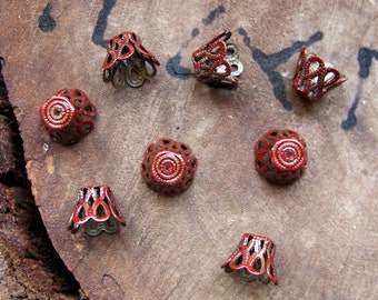 Red Pewter Lacy Bead Caps. 8 Enameled Tiny Flowers 9mm Bead Caps. Tiny Basket Bead Caps