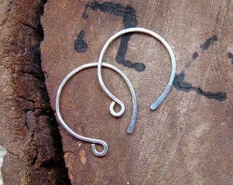 Sterling Silver Hoop Ear wires. Hand Forged Ear Wires 3/4 inch. Round Hammered Earwires. Earrings / Handmade Earwires / Hoops Ear wires
