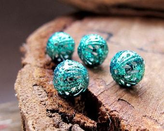 10mm Bauble Beads. Turquoise Enamel Hollow Beads. Filigree Beads 1mm. Hand Painted Beads. Bauble Beads - Boho Supplies - Filigree Balls
