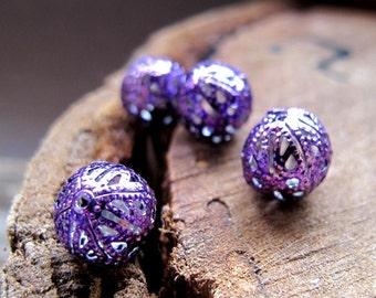 Purple Hollow Beads 10mm. Enameled  Filigree Bauble Bead set. Round mini Beads. Handmade jewelry Findings - babble beads - Filigree Beads