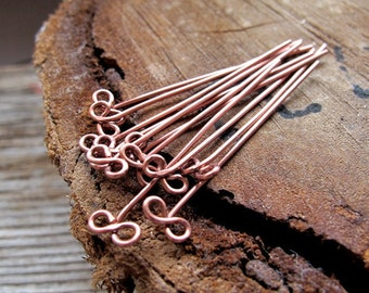 22 gauge Bronze Head pins. Handmade copper enameled Bow Eye Pins. Infinity shaped Jewelry Findings. Bronze supplies
