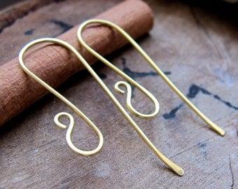 Elegant Brass Long Hook Ear Wires. Artisan Earwires Findings for Earrings. Long Earwire / Gold Ear wires / Artisan Ear Wires