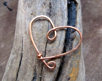 Copper Wire Heart Pendant - Love Necklace Supplies Hammered for Strength and Texture