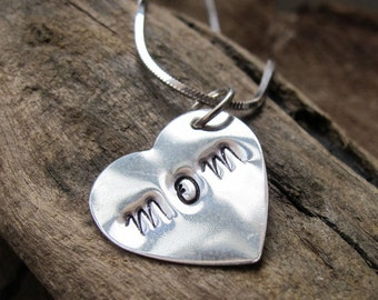 Sterling Silver Personalized Heart Pendant - Custom Heart Charm. Hand Stamped Heart. Jewelry tag for Necklace, Pendant Bracelet. Mom Jewelry