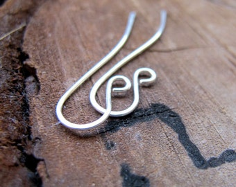 Swirl Sterling Silver Ear Wires - 20 gauge Silver Earrings findings - Elegant Earwires - Handmade Ear Wires - Artisan Earwires - Unique