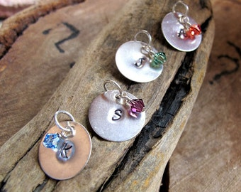 Initial Disc & Swarovski Crystal Charm - Sterling Silver Hand Stamped Initial w/h wire wrapped dangles - mothers day / Initials / Charms