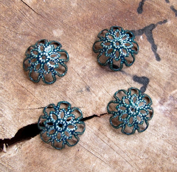 Forest Green Enameled Filigree Bead Caps, hand painting w/h enamel-glass color, Enameled Bead Supplies. Flower Caps for Pearls, Beads, Balls