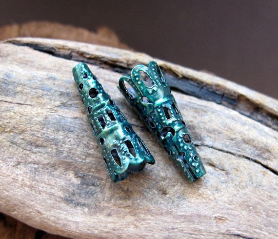 Enameled Green Cone Bead Caps. 22mm Trumpets Filigree bead caps. Handmade Jewelry Findings