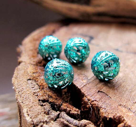 10mm Bauble Beads. Turquoise Enamel Hollow Beads. Filigree Beads 1mm. Hand Painted Beads. Bauble Beads - Boho Supplies - Filigree Balls