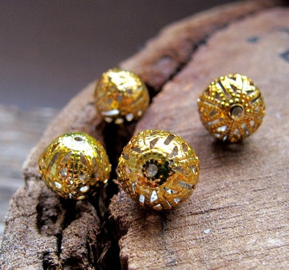 Golden Enamel Beads. Filigree Hollow Tiny Ball Beads. Ball Spacer Findings. Beading Supplies - Drop Dangles - Yellow Metal Beads. Tiny Balls
