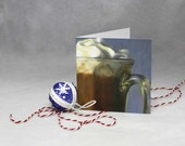 Winter's Indulgence blank holiday Cards - art card set of 4 - Rich Hot Chocolate reproduction of oil painting