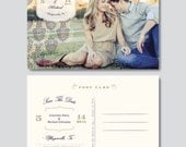 Vintage Save the Date Postcard Template (PSD) - Digital Download - s0006 - Wedding Photography Photoshop Template