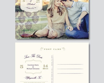 Vintage Save the Date Postcard Template - Digital Photoshop Files - Wedding Photography Photoshop Template - Design By Bittersweet