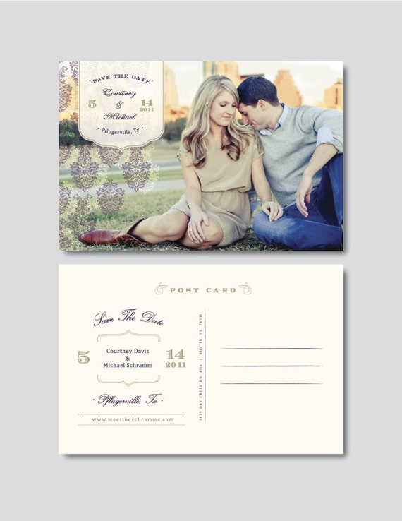 Vintage save the date postcard template psd by for Electronic save the date templates