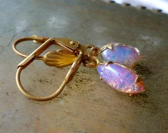 Pink Opal Earrings - Vintage Glass Opals - Brass Earrings - Light Weight Earrings - October Birthstone - Birthday Gift