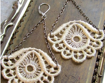 Victorian Gypsy Ivory Lace Earrings