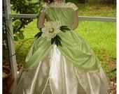 Custom Boutique Disney Inspired Princess TIANA Girls Wedding Costume Gown