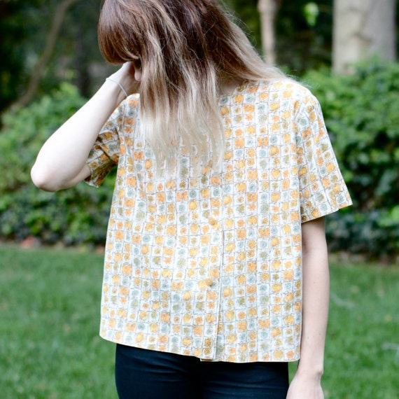 Pale Yellow Button Up Floral Shirt - Oversized