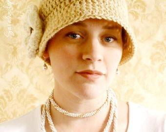Crochet Flapper Hat with Flower - INSTANT DOWNLOAD - Crochet Pattern PDF