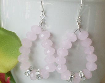 Light pink crystal earrings, hoop, pink jewelry, gift
