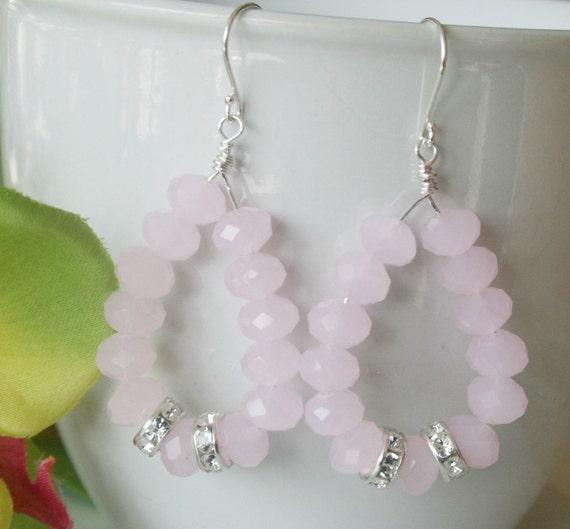 Light pink crystal earrings, hoop, pink jewelry, gift