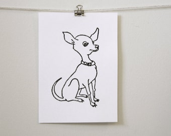 "kids' room art: ""cute chihuahua,"" hand-pressed thermal print"
