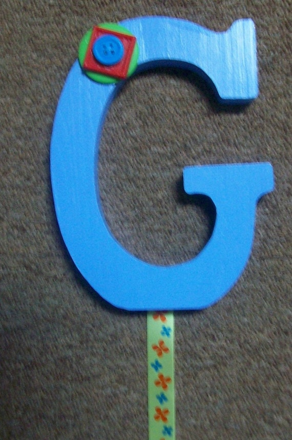 LETTER G barrette bow hair accessories holder blue green red flowers