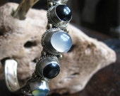 Green Chalcedony Black Onyx and Quartz Cuff Bracelet Pewter and Copper