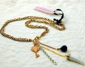 Regal Key and Horn Rosary necklace (OOAK) SALE