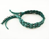 Turquoise Leather and Chain Wrap Bracelet