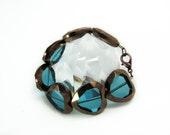 Crystal Glass Heart Bracelet -Electric Teal
