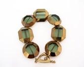Green Geometric Bracelet Glass Window Beads