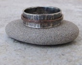 Mens Wedding Band Silver Copper Spinner Ring Hammered Wedding Ring Rustic Engraved-RUSH!