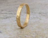 Mens Wedding Band Hammered Gold Wedding Ring 14K Distresssed Gold Band Engraved Custom Unique Wedding Bands Rustic Wedding Rings for Him Her