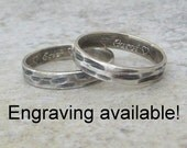Bark Wedding Band Set Silver Hammered Rings Rustic Wedding Ring Set Unique Wedding Bands Engraved Wedding Rings Personalized Wedding Bands