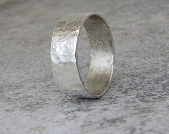 Hammered Wedding Ring Mens Wedding Band Wide Silver Ring Rustic Wedding Rings Unique Wedding Bands Jewelry for Men Gift for Him Thumb Ring